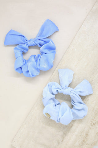 Bella Satin Hair Scrunchie Set in Baby Blues