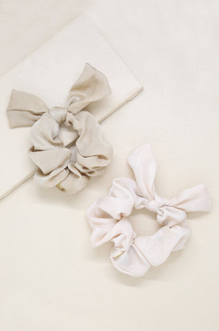 Bella Satin Hair Scrunchie Set in Tan and Cream