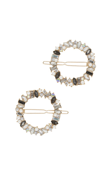 Large Crystal Donut Hair Barrette Set of 2