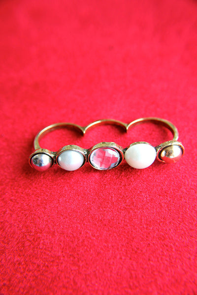 Funky Pearl Trio Three Finger Ring