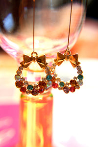 My Vibrant Ribbon Wreath Earrings