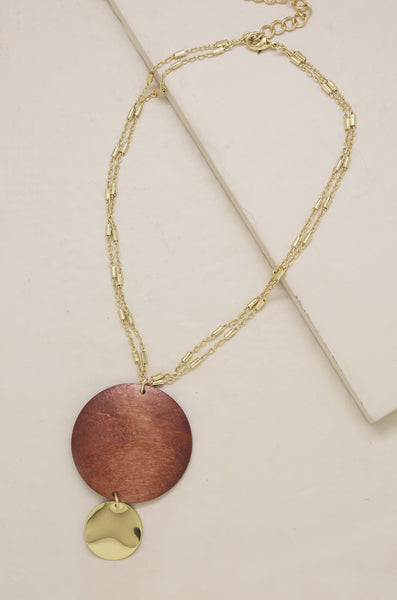 Bohemian Statement Wood Pendant Necklace in Gold