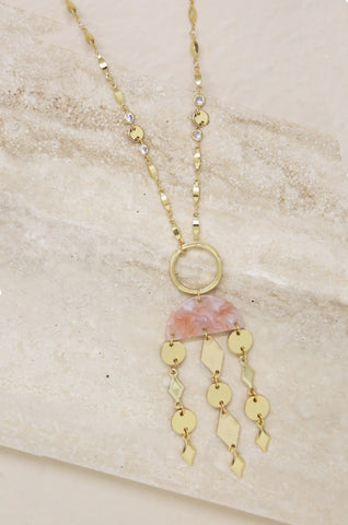Mixed Geo Resin Necklace in Pink & Gold