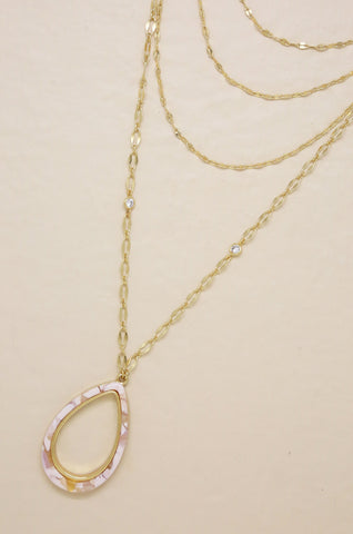 Simply Chic Teardrop Blush Resin Layered Necklace