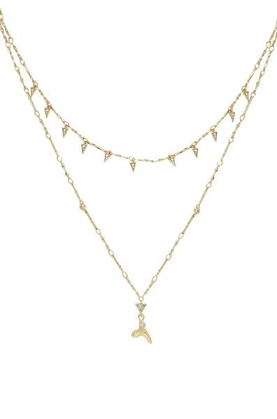 Layered Shark Tooth Necklace in Gold