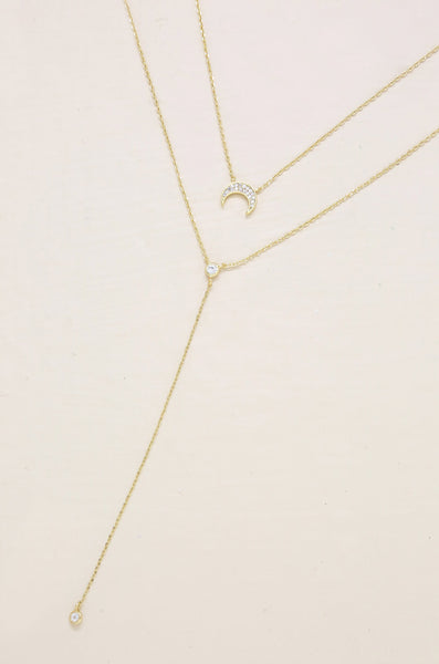 Dainty Layered Crescent Moon Necklace Set
