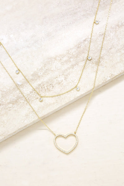 Crystal Heart & Drop Layered Necklace Set of 2