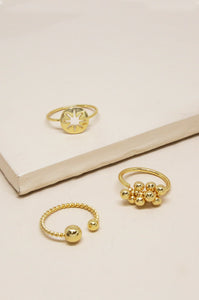 Golden Bisous Ring Set of 3
