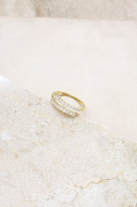 Adjustable Crystal Spiral Ring in Gold