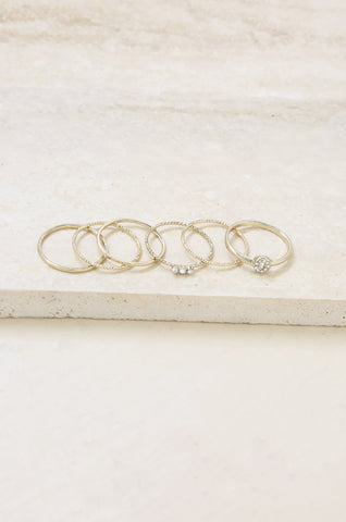 Dainty Gold Stacking Ring Set of 6