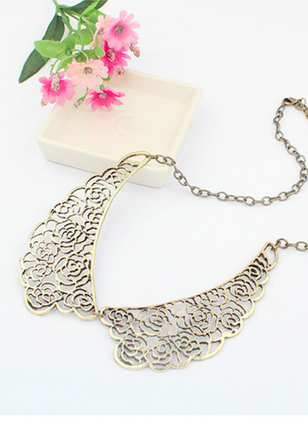 Golden Ornate Bib Collar Necklace