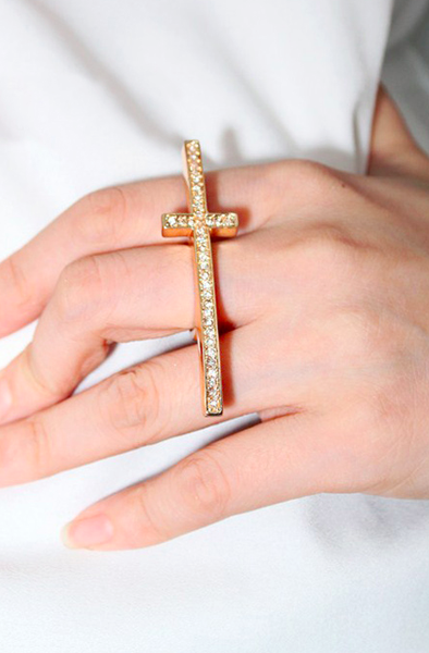 Bling Cross Ring