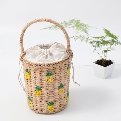 Pineapple Embellished Wicker Straw Basket Handbag