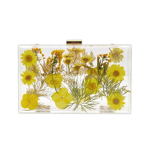 Transparent Floral Imprinted Acrylic Box Clutch
