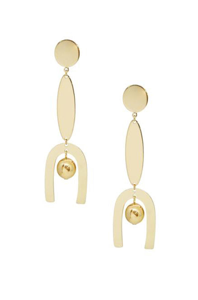 Linear Geometric Dangle Earrings in Gold