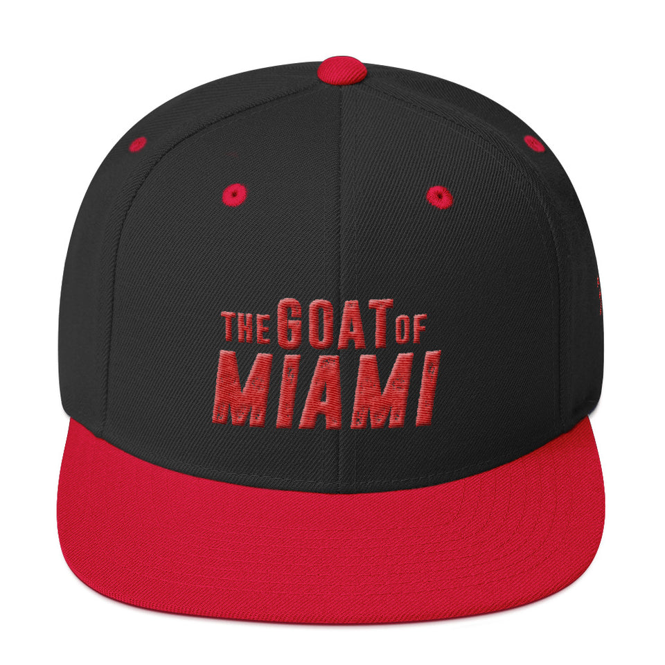 The Goat of Miami Red text Snapback Hat