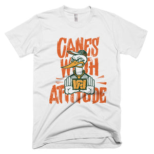 Canes With Attitude Orange text Short-Sleeve T-Shirt
