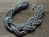 Six Strand Braided Statement Pearl Necklace