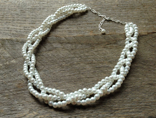 6mm Three Strand Braided Pearl Necklace