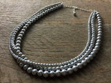 Three Strand Stacked Drape Pearl Necklace