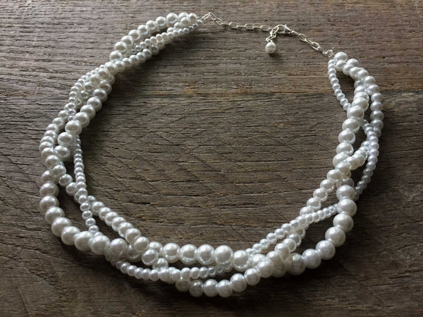 Three Strand Braided Pearl Necklace