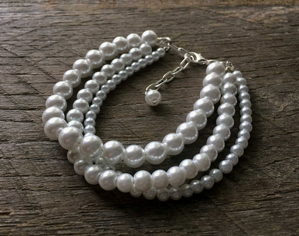 Three Strand Stacked Drape Pearl Bracelet