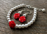 Flower Girl Jewelry White Pearl with Rose Bracelet and Earring Set