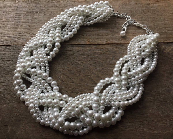Eight Strand Braided Statement Pearl Necklace
