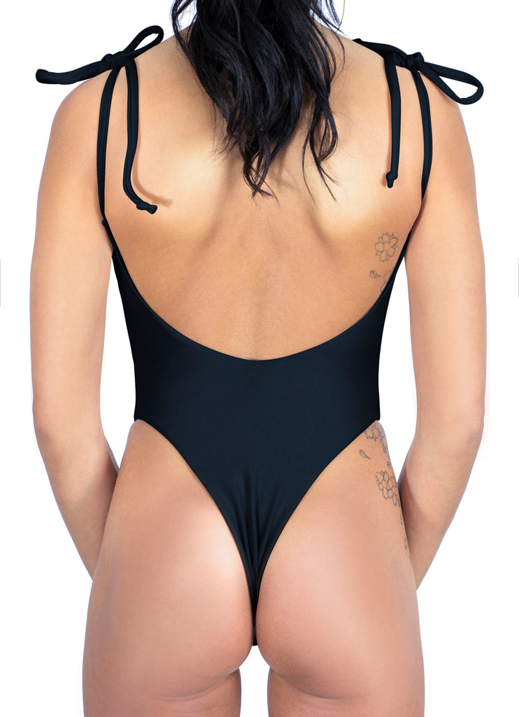 LEAH one-piece in black, back