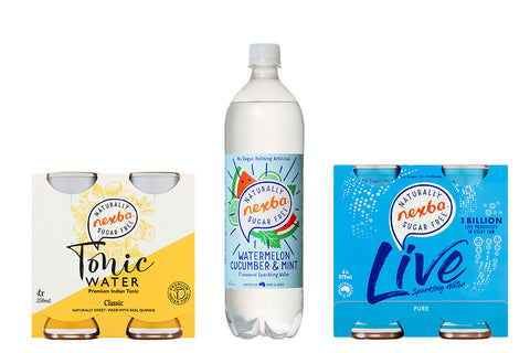 Nexba tonic water, flavoured sparkling water and live sparkling water