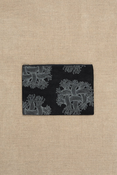 Pouch- Linen- Emb Rope Print- Black
