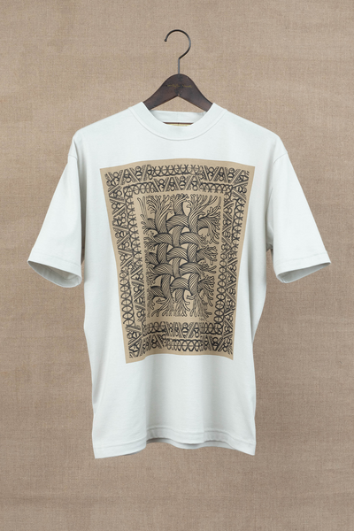 Printed Tshirt- Rope Painting- Light Grey Body/ Beige Print