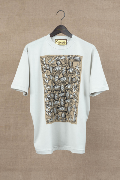 Printed Tshirt- Cut-Out Rope/ Square- Light Grey