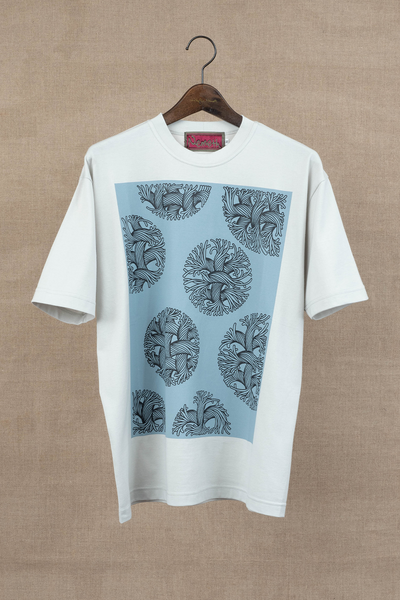 Printed Tshirt- Bubble Rope- Light Grey