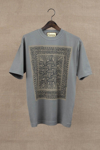 Printed Tshirt- Rope Painting- Grey Body/ Beige Print