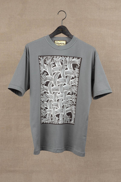 Printed Tshirt- Cut-Out Rope/ Square- Grey