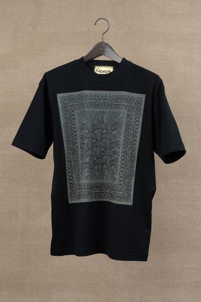 Printed Tshirt- Rope Painting- Black Body/ Beige Print