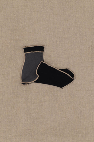 Socks Short- Black/Grey Body- Beige Stitch