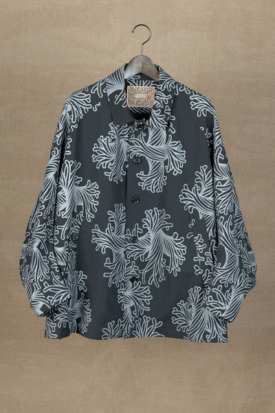 Coat 19236- 19AW- Polyester87% / Nylon13% Twill Print- L Rope- Black