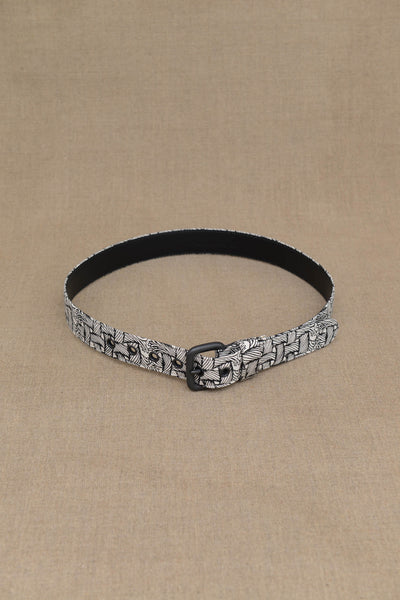 Belt Leather- Cotton- M Rope Print- White