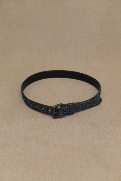Belt Leather- Linen- M Rope Print- Grey