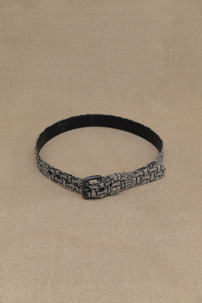 Belt Leather- Heavy Linen- M Rope Print- Raw