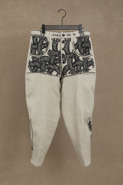 Trousers 42- Linen- Pattern Rope Print- Raw