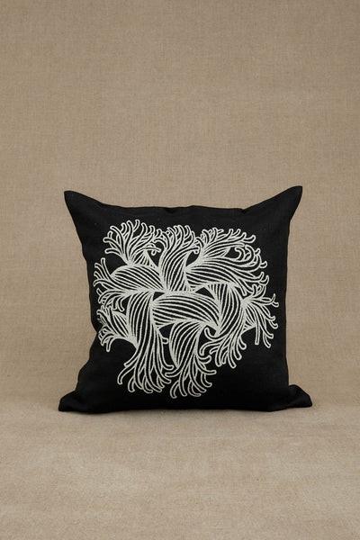 Cushion Cover- Heavy Linen- Embroidery Rope Print- Black