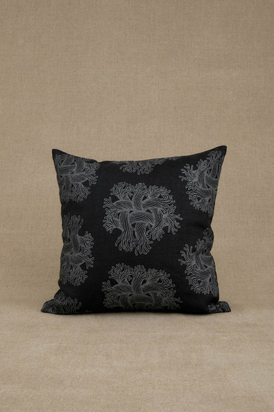 Cushion Cover- Heavy Linen- Emb Rope Print- Black