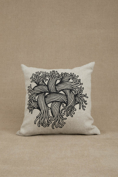 Cushion Cover- Heavy Linen- Embroidery Rope Print- Raw