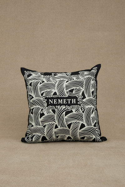 Cushion Cover- Heavy Linen- Logo Rope Print- Black
