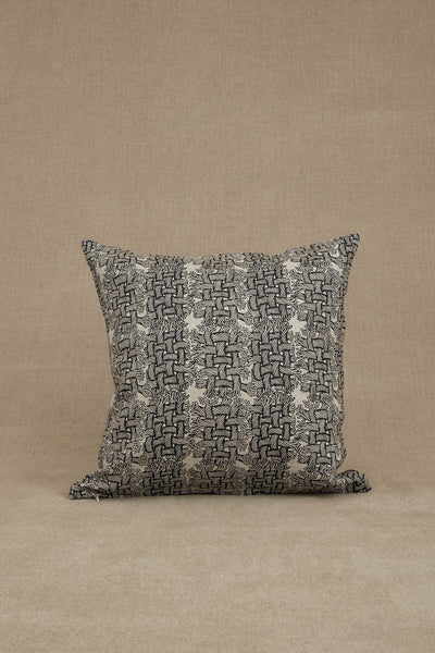 Cushion Cover- Heavy Linen- M Rope Print- Raw