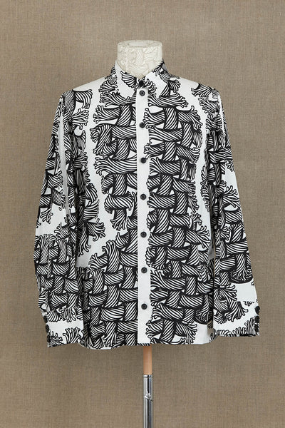 Shirt 18752- Cotton Broad- Isle Rope Print- White