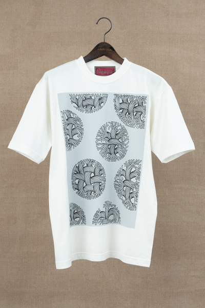 Tshirt Printed- Bubble Rope- Ash Blue Print- White